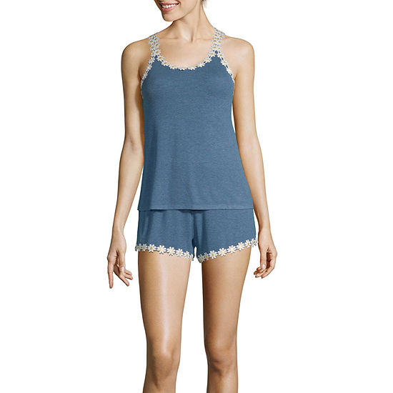 Pj Couture Womens 2-pc. Sleeveless Shorts Pajama Set