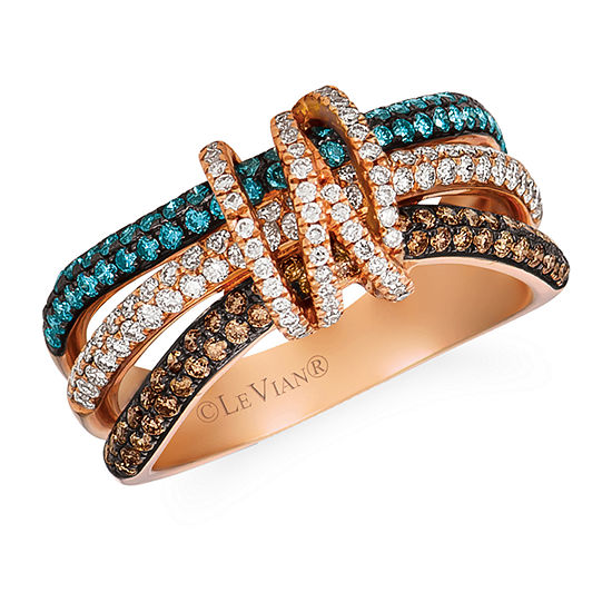 LIMITED QUANTITIES Le Vian Grand Sample Sale™ Vanilla Diamonds®, Chocolate Diamonds®, & Iced Blueberry Diamonds® Ring set in 14K Strawberry Gold®