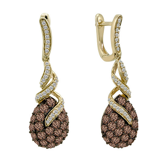 LIMITED QUANTITIES Le Vian Grand Sample Sale™ Chocolate Diamonds® & Vanilla Diamonds® Earrings set in 14K Honey Gold™