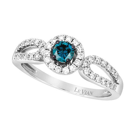 LIMITED QUANTITIES Le Vian Grand Sample Sale™ Ring featuring Blue Diamonds, Vanilla Diamonds® set in 14K Vanilla Gold®