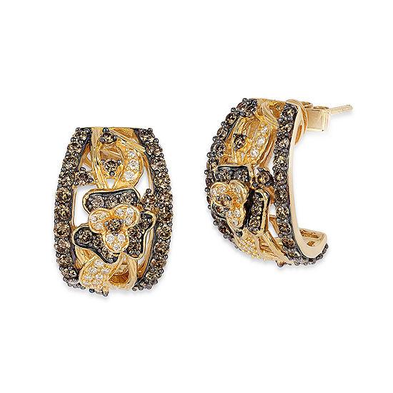 LIMITED QUANTITIES Le Vian Grand Sample Sale™ Chocolate Diamonds® & Vanilla Diamonds® Flower Earrings set in 14K Honey Gold™