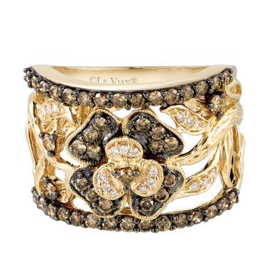 LIMITED QUANTITIES Le Vian Grand Sample Sale™ Chocolate Diamonds® & Vanilla Diamonds® Flower Ring set in 14K Honey Gold™