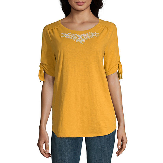 St. John's Bay Slit Sleeve Embroidery Tee - Tall