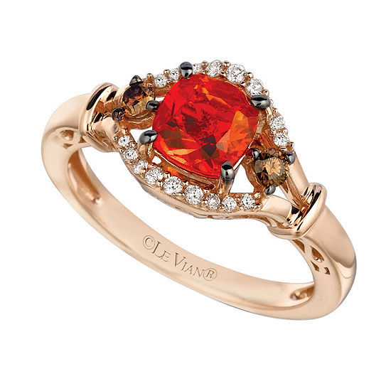 LIMITED QUANTITIES Le Vian Grand Sample Sale™ Neon Tangerine Fire Opal®, Vanilla Diamonds®, & Chocolate Diamonds® Ring set in 14K Strawberry Gold®