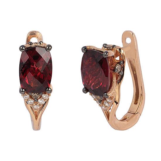 LIMITED QUANTITIES Le Vian Grand Sample Sale™ Raspberry Rhodolite®, Vanilla Diamonds®, & Chocolate Diamonds® Earrings set in 14K Strawberry Gold®