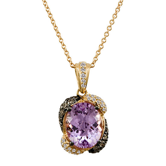 LIMITED QUANTITIES Le Vian Grand Sample Sale™ Pendant featuring Cotton Candy Amethyst®, Chocolate Diamonds®, Vanilla Diamonds® set in 14K Strawberry Gold®