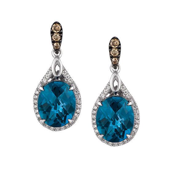 LIMITED QUANTITIES Le Vian Grand Sample Sale™ Deep Sea Blue Topaz™, Chocolate Diamonds®, & Vanilla Diamonds® Earrings set in 14K Vanilla Gold®