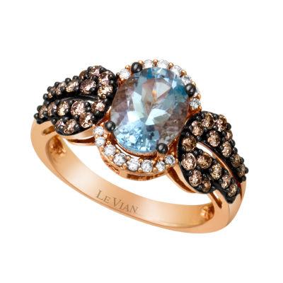 Le Vian Grand Sample Sale™ Ring featuring Sea Blue Aquamarine®,  Chocolate Diamonds®, & Vanilla Diamonds® set in 14K Strawberry Gold®