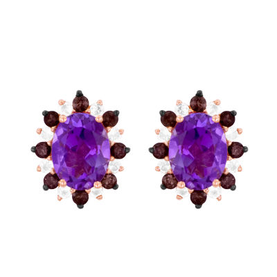 Le Vian Grand Sample Sale™ Earrings featuring Grape Amethyst™,  Chocolate Quartz®, & Vanilla Topaz™ set in 14K Strawberry Gold®