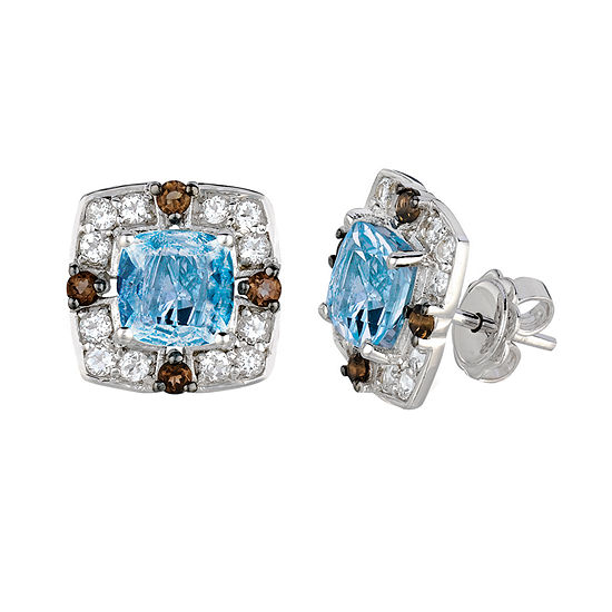 Le Vian Grand Sample Sale™ Earrings featuring Blue Topaz, Chocolate Quartz®, & Vanilla Topaz™,  set in 14K Vanilla Gold®