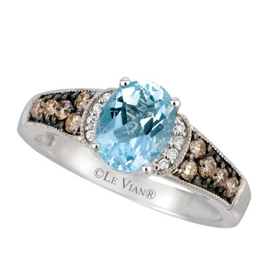 LIMITED QUANTITIES Le Vian Grand Sample Sale™ Sea Blue Aquamarine®, Vanilla Diamonds®, & Chocolate Diamonds® Ring set in 14K Vanilla Gold®