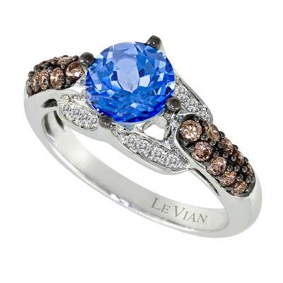 LIMITED QUANTITIES Le Vian Grand Sample Sale™ Ocean Blue Topaz™, Vanilla Diamonds®, & Chocolate Diamonds® Ring set in 14K Vanilla Gold®