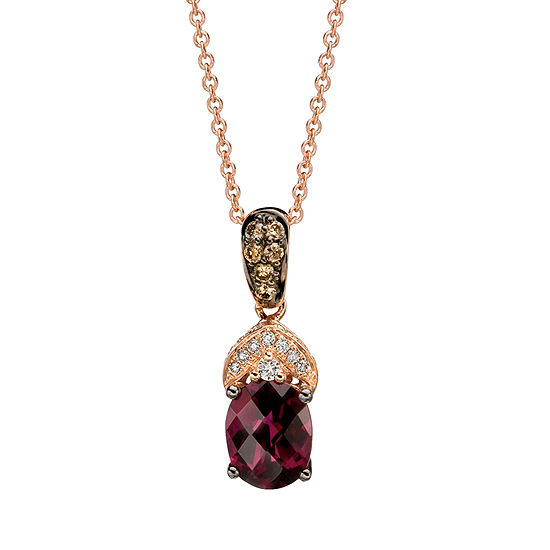 Le Vian Grand Sample Sale Pendant Featuring Raspberry Rhodolite Vanilla Diamonds Chocolate Diamonds Set In 14k Strawberry Gold