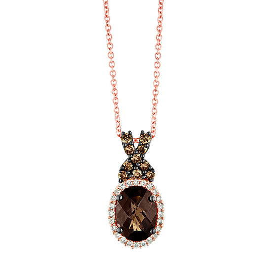 Le Vian Grand Sample Sale™ Pendant featuring  Chocolate Quartz®, Chocolate Diamonds®, & Vanilla Diamonds® set in 14K Strawberry Gold®