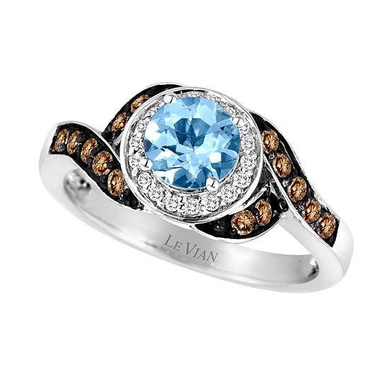LIMITED QUANTITIES Le Vian Grand Sample Sale™ Sea Blue Aquamarine®, Vanilla Diamonds®, & Chocolate Diamonds® Ring set in 14K Vanilla Gold®