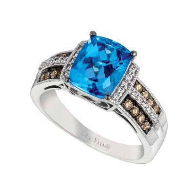 LIMITED QUANTITIES! Grand Sample Sale™ by Le Vian® Ocean Blue Topaz™, 1/10 CT.T.W Vanilla Diamonds® 1/5 CT. T.W. Chocolate Diamonds® in 14K Vanilla Gold® Ring
