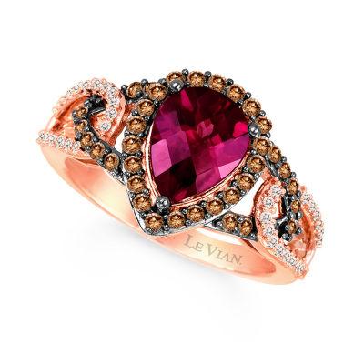 LIMITED QUANTITIES Le Vian Grand Sample Sale™ Raspberry Rhodolite®, Vanilla Diamonds®, & Chocolate Diamonds® Ring set in 14K Strawberry Gold®