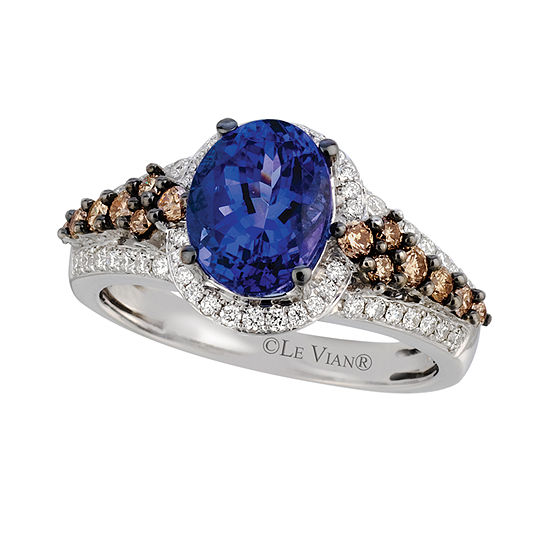 LIMITED QUANTITIES Le Vian Grand Sample Sale™ Blueberry Tanzanite®, Vanilla Diamonds®, & Chocolate Diamonds® Ring set in 14K Vanilla Gold®