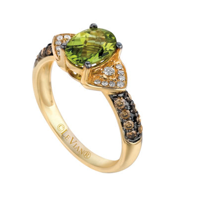 LIMITED QUANTITIES Le Vian Grand Sample Sale™ Green Apple Peridot™, Vanilla Diamonds®, & Chocolate Diamonds® Ring set in 14K Honey Gold™