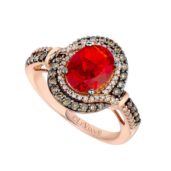 Le Vian Grand Sample Sale Ring Featuring Neon Tangerine Fire Opal Chocolate Diamonds Vanilla Diamonds Set In 14k Strawberry Gold