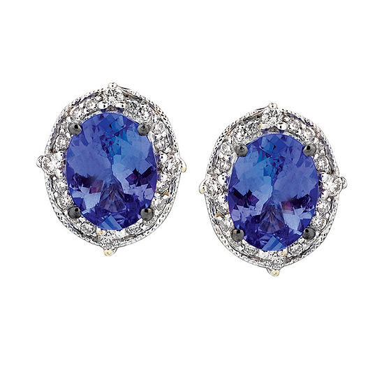 LIMITED QUANTITIES Le Vian Grand Sample Sale™ Blueberry Tanzanite®  & Vanilla Diamonds® Earrings set in 14K Vanilla Gold®