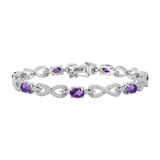 Genuine Purple Amethyst Sterling Silver 7.5 Inch Tennis Bracelet