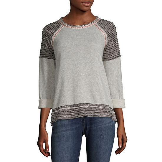 Rewind Womens Round Neck Long Sleeve French Terry Blouse-Juniors