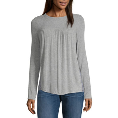 Rewind Womens Round Neck Long Sleeve Knit Blouse-Juniors