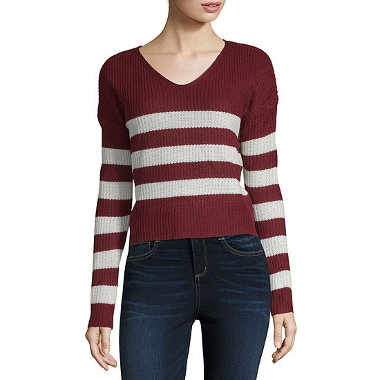 Say What Womens V Neck Long Sleeve Sweater Juniors