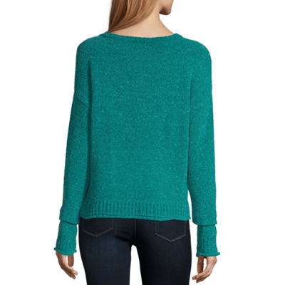 Say What Womens Round Neck Long Sleeve Sweatshirt Juniors