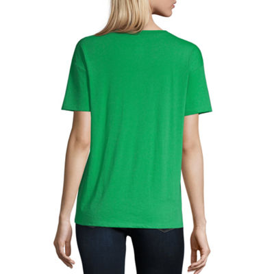 City Streets Womens Round Neck Short Sleeve Graphic T-Shirt-Juniors