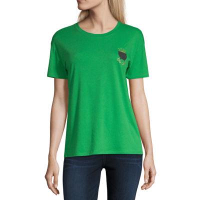 City Streets Womens Round Neck Short Sleeve Graphic T-Shirt-Juniors