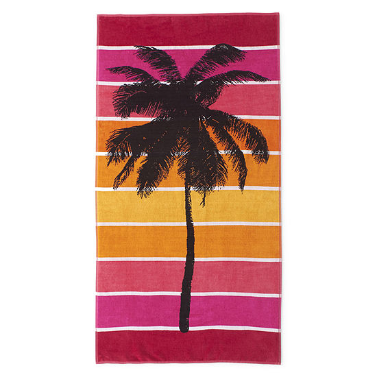 Outdoor Oasis Palm Tree Stripe Beach Towel