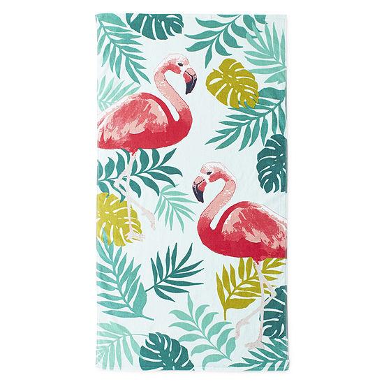 Outdoor Oasis Flamingo Beach Towel