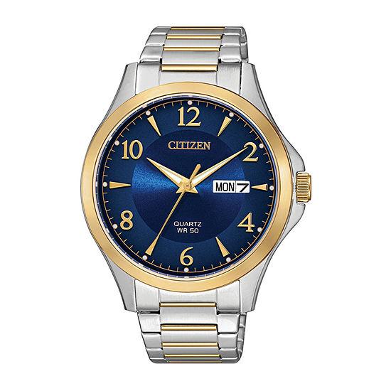 Citizen Quartz Mens Two Tone Stainless Steel Bracelet Watch-Bf2005-54l