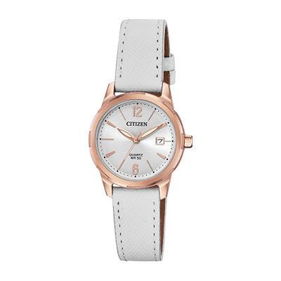Citizen Quartz Womens White Strap Watch-Eu6073-02a