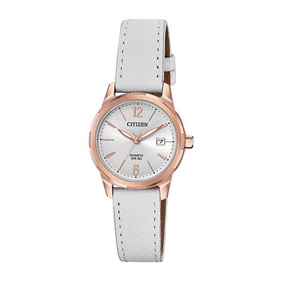 Citizen Quartz Womens White Leather Strap Watch-Eu6073-02a