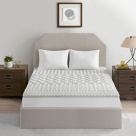 "Flexapedic by Sleep Philosophy Graphite 1.5"" 5-zone Reversible Memory Foam Mattress Topper"