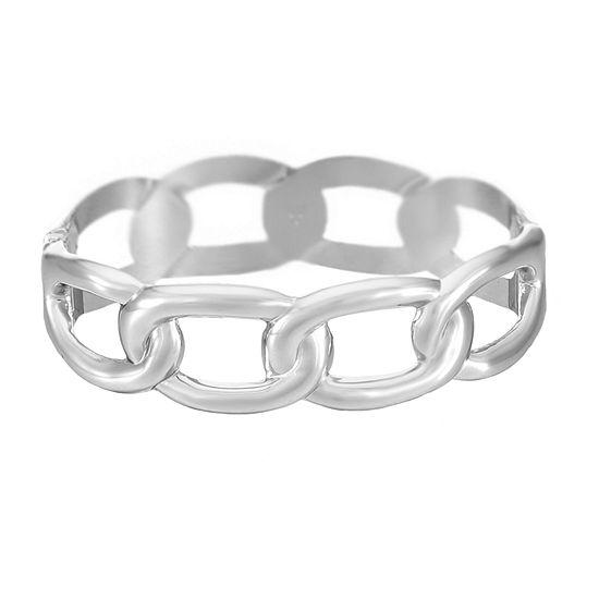 Worthington Chain Link Silver Tone Bangle Bracelet