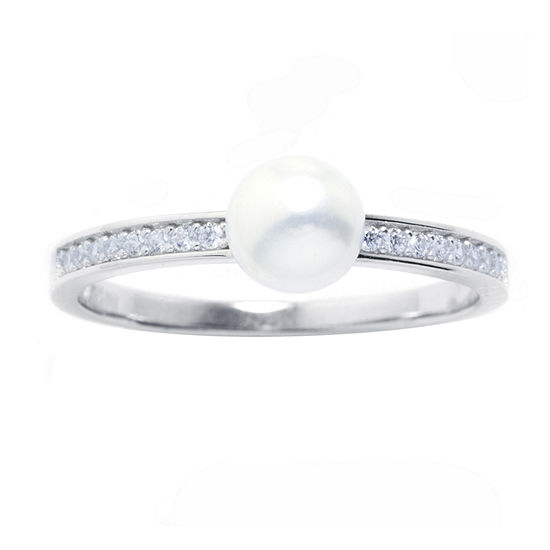Silver Treasures Cubic Zirconia Cultured Freshwater Pearl Sterling Silver