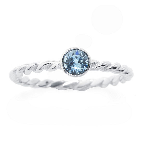 Silver Treasures Blue Crystal Sterling Silver