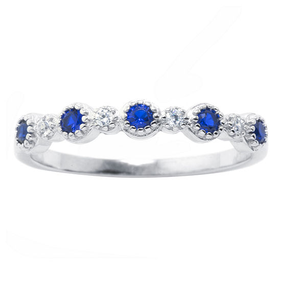 Silver Treasures Spinel Sterling Silver Band