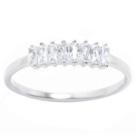 Silver Treasures Cubic Zirconia Sterling Silver Band Ring