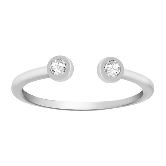 Itsy Bitsy White Cubic Zirconia Sterling Silver Band