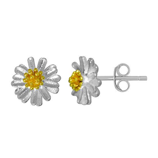Itsy Bitsy Sterling Silver 8.4mm Flower Stud Earrings