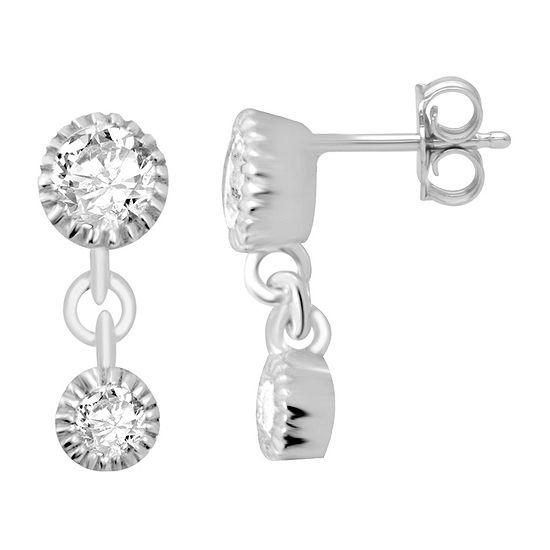 Itsy Bitsy Cubic Zirconia Sterling Silver Drop Earrings