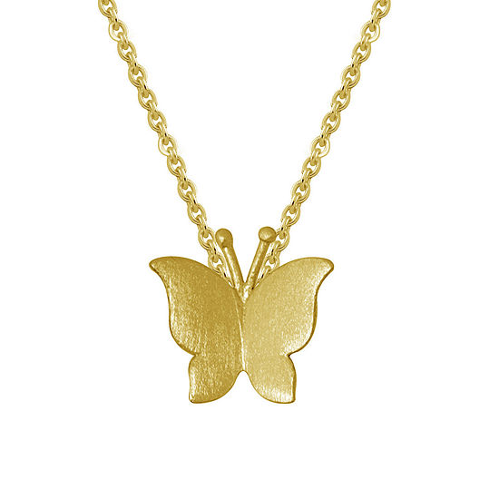 Itsy Bitsy 14K Gold Over Silver Sterling Silver 16 Inch Butterfly Pendant Necklace