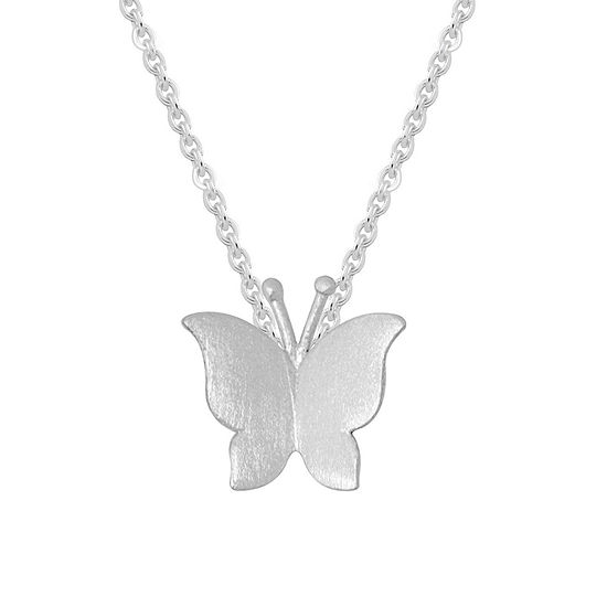 Itsy Bitsy Sterling Silver 16 Inch Butterfly Pendant Necklace