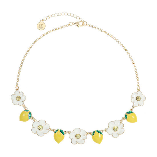 Liz Claiborne Yellow 17 Inch Cable Flower Collar Necklace