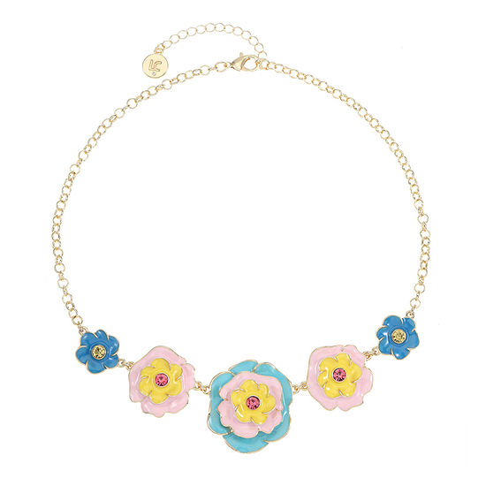 Liz Claiborne 17 Inch Cable Flower Statement Necklace